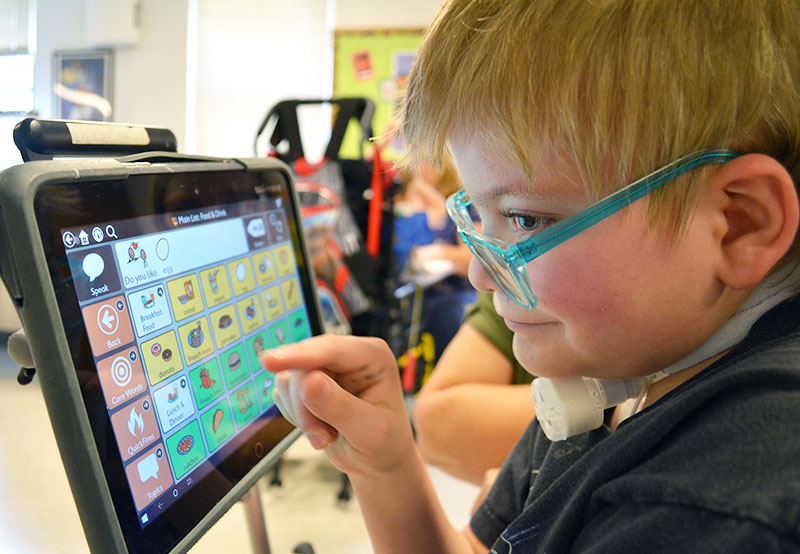 Anne Carlsen student using assistive technology to communicate